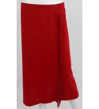 Nina Leonard Size Large Pillar Box Red Fringe Trimmed Skirt
