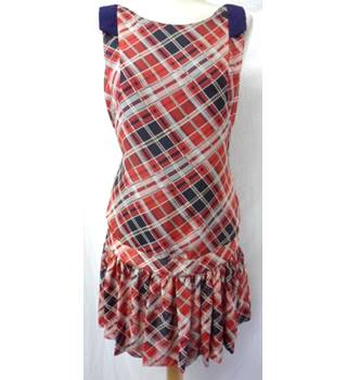 River Island - Size: 10 -Red and Navy Diamond Check Tartan Mini Dress