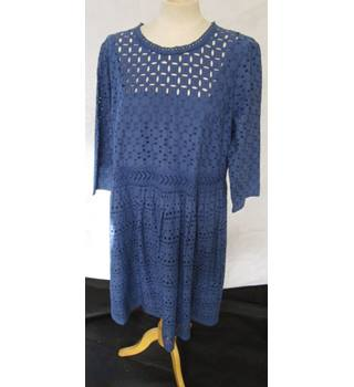 Marks and Spencer M & S -  Blue / Cobalt Lined - Broderie Anglaise Dress - Size 18 - BNWTS