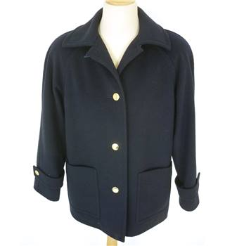 "Aquascutum Size: 10, 34"" chest Dark Navy Blue Stylish Wool Box Cut Fashion Single Breasted Coat With Gold Effect Buttons"
