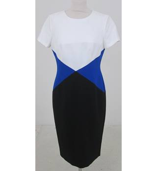 NWOT M&S Size: 12- Blue, black and white geometric dress