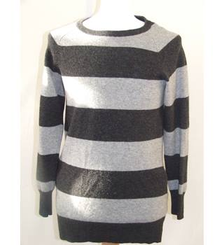Jack Wills Size 10 Long Grey Striped Jumper Indie, Boho Jack Wills Knitwear - Size: 10 - Multi-coloured - Jumper