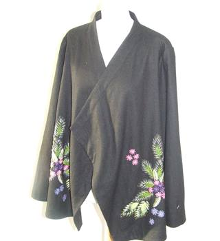 Chesca Overthrow Style Patterned Cardigan Size 20 Elegant and Beautiful Chesca - Size: 20 - Black - Cardigan