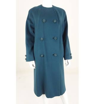 Vintage Circa 1970's Unbranded Size: L Teal Blue Double Breasted Coat