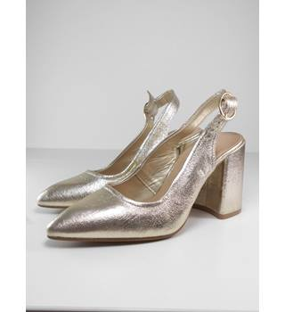 M&S Collection Size: 3 Gold Block Heeled Sling Back shoes