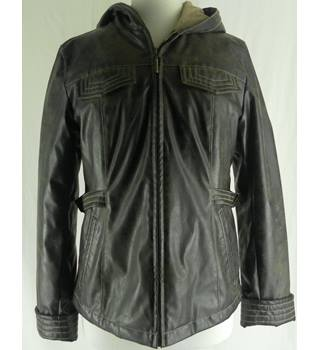 Leather-look Weather Tamer jacket with lined hood - size small