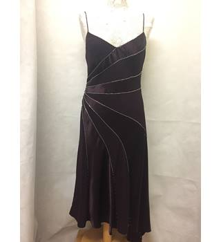 Debenhams - Size: 10 - Purple / plum satin look sequin detail dress