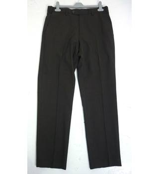 "M & S Size: M, 32"" waist, 31"" inside leg, tailored fit Chocolate Brown Mix  Stylish Italian Wool Flat Front Trousers"