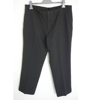"M & S Size: XL, 40"" waist, 29"" inside leg, regular fit Charcoal Grey Casual/Stylish Polyester Flat Front Trousers"