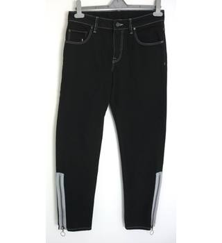 "Unbranded Size: M, 32"" waist, 29"" inside leg, tailored  fit Black  Casual/Stylish Cotton Cowboy Rodeo Jeans With Leg Zips"