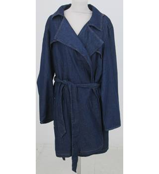 NWOT: M&S Size 24: Blue denim wrap coat