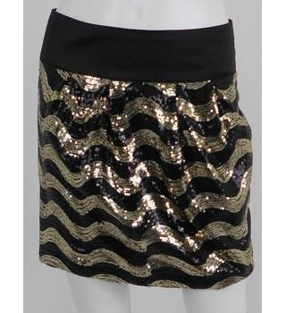 Heaven Black / Gold Sequin Mini Skirt UK Size 10