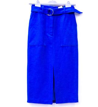M&S Collection - M&S Marks & Spencer - Size: 10 - Blue - Calf length skirt