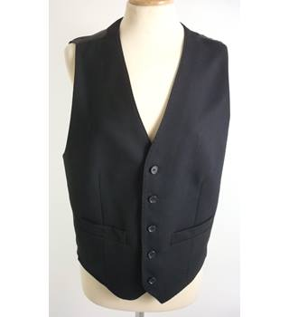 "M & S Size: S, 36"" Chest, tailored fit Black  With Black Rear Panel Casual/Stylish Pure New Wool Waistcoat"