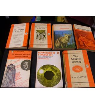 Seven early Penguin books incl Catcher in the Rye, The Longest Journey, This Side of Paradise, Reflections in a Golden Eye