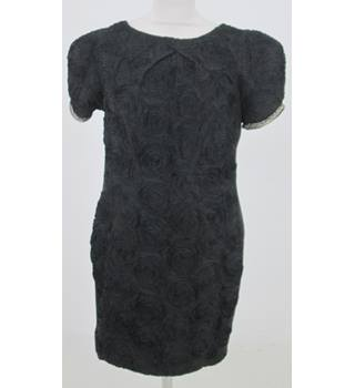 River Island: Size 14: Black rose applique dress