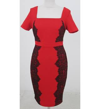 M&S: Size 10: Red body-con dress with black lace panels