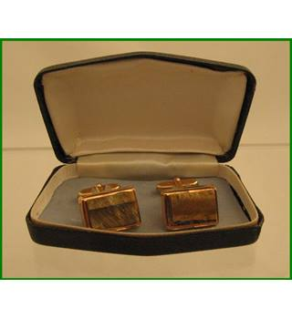 BNIB - Vintage - gilt cufflinks - Tigers Eye