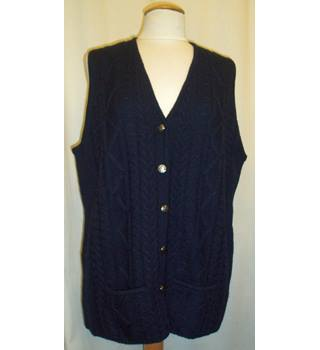 BNWT Cotswold Collections  Size XL Navy blue sleeveless cable knit Cardigan with six silver buttons