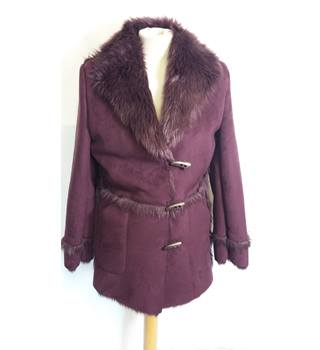 M&S size 10 purple with faux fur trims toggle fastening coat