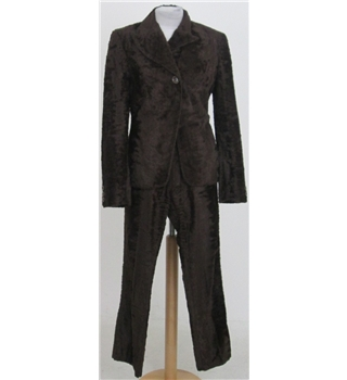 Karen Millen size: 8-10 brown faux fur trouser suit