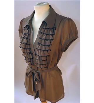 Kookai - size 10 brown sheer blouse