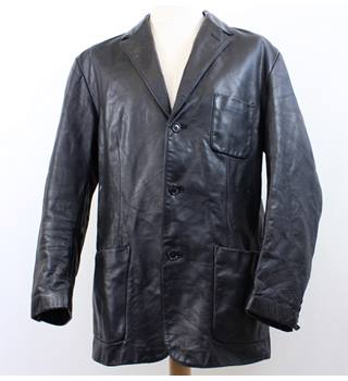 "Gap - Size: L (44"" chest) - Black - Men's Genuine Leather 3/4 Coat"