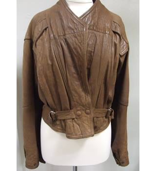 Women's  Tan  Leather Jacket Adonis - Brown - Jacket