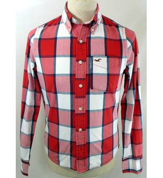 Hollister - Size: S - Red White Blue Check - Men's Long-sleeved Shirt