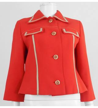 Vintage 60's Anthony Charles Boutique Size 12 Postbox Red Tailored Crop Jacket