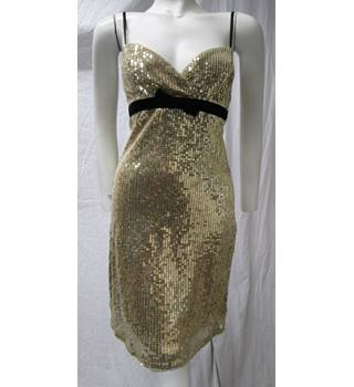 Lipsy Sequined Gold Dress Size 10 Lipsy - Size: 10 - Metallics