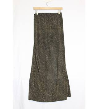 River Island black/gold maxi skirt size 12 River Island - Size: 12 - Metallics - Long skirt