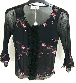 Sister (Paris) - Size: S - Black embroidered chiffon top