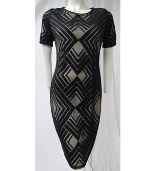 M&S Black Mesh Dress Over Cream Lining Size 12 M&S Marks & Spencer - Size: 12 - Black