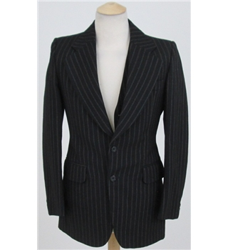 John Peter London size: S black pinstripe suit jacket and waistcoat