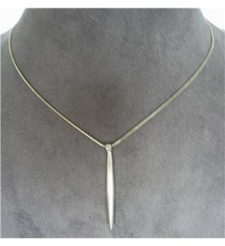 Necklace, silver fine chain with a tapered cylindrical rod as pendant
