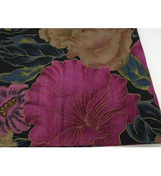 Made in Thailand black & pink mix floral silk scarf