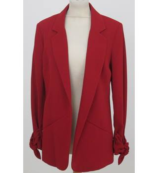 NWOT: M&S Size 8: Red smart jacket with tie at cuffs