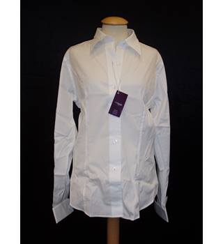 BNWT  T M Lewin  Size 12 White fitted stretch long sleeved shirt with long collar and cuff link cuffs