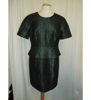 BNWT  Whistles  Size 16  Metallic Hunter green and black circle print knee length peplum dress