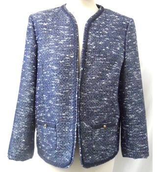 M&S Marks & Spencer Classic - Size: 14 - Navy Blue and White - Smart jacket / coat