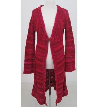 QED London: Size M: Red stripe long length cardigan