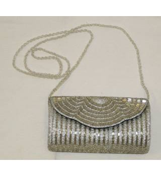 Dune Vintage Style Silver Beaded Art Deco 1920s Flapper Downton Handbag Shoulder Bag Small