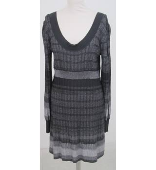 Oasis: Size L: Black & grey sparkly fine knit dress