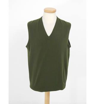 Genova Pescetto Size L Green Sleeveless Cashmere Sweater