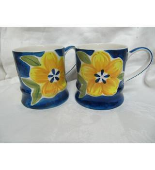 Two Ceramic Mugs Whittard Blue Yellow Floral