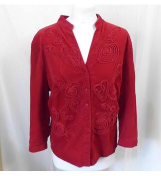 Per Una Size 16 Red with Floral Detailing and Love Heart Buttons Long Sleeved Shirt
