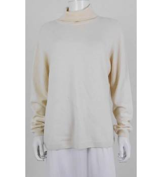 Pure Collection Size 18 Cream 100% Cashmere Roll Neck Jumper