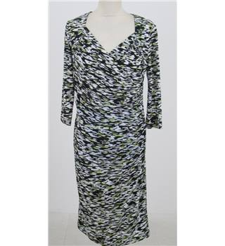 Savoir size: 12 black/white/green mix knee length dress