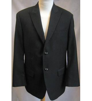 Calvin Klein LORD & TAYLOR - Size: 38S- Black - Pinstriped-Single Breasted -2 Piece- Wool Suit